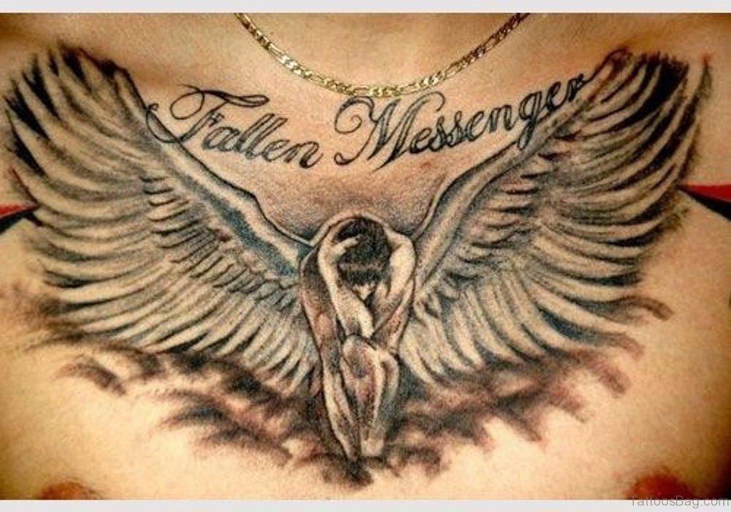 86 graceful angel tattoos for chest. Black Bedroom Furniture Sets. Home Design Ideas