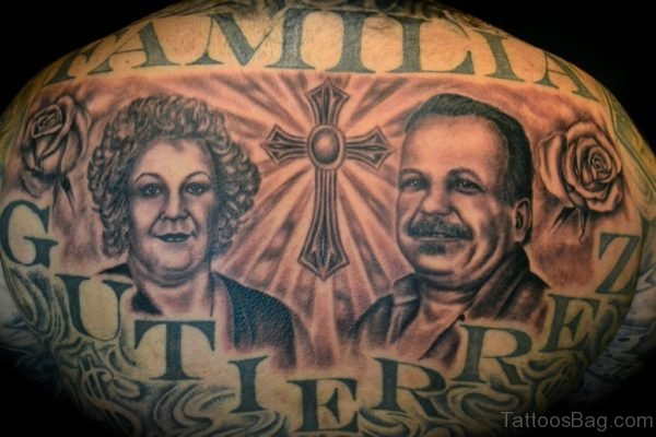 Familia Portrait And Cross Tattoo