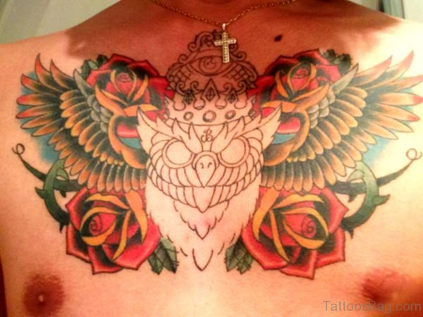 Family Owl Chest Tattoo