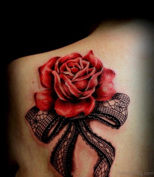 Fancy Bow And Rose Tattoo