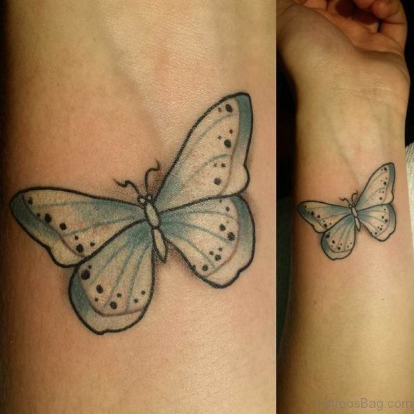 Fancy Butterfly Tattoo On Wrist