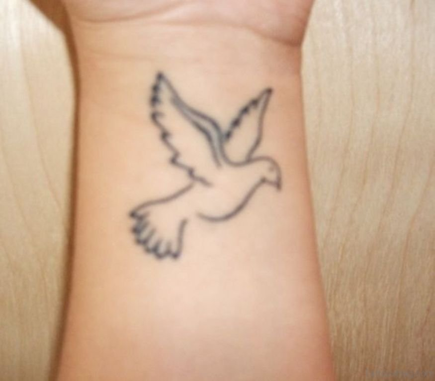 49 creative dove tattoos on wrist for Fancy name tattoos