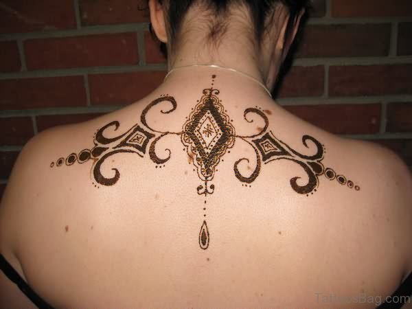Fancy Henna Tattoo On Upper Back