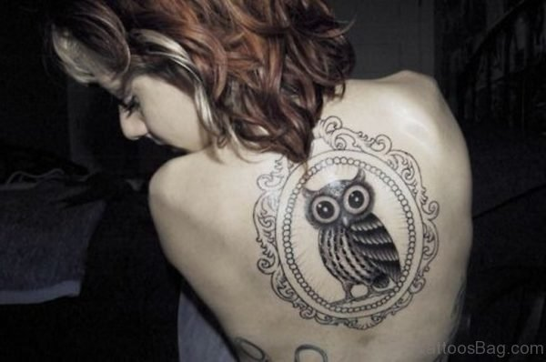 Fancy Owl Tattoo On Back
