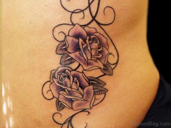 Fancy Rose Tattoo On Back