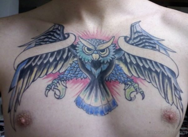 Fanciful Owl Chest Tattoo