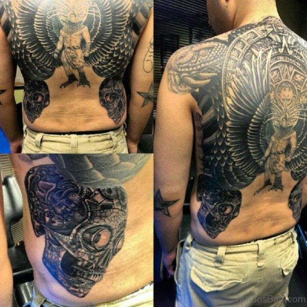 Fantastic Aztec Tattoo On Back