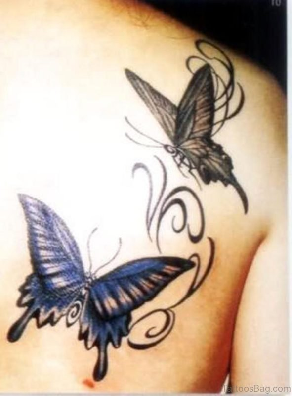 Fantastic Butterfly Tattoo Design On Back