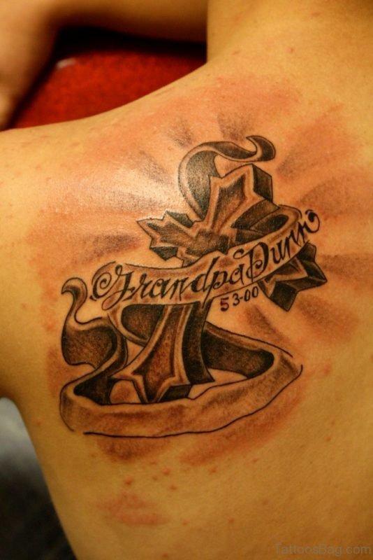 Fantastic Cross Tattoo On Back