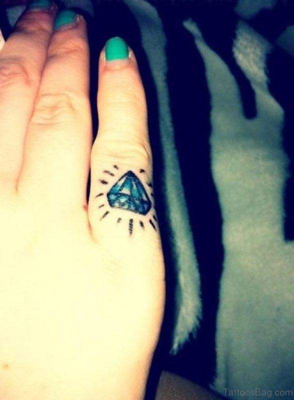 Fantastic Diamond Tattoo On Finger
