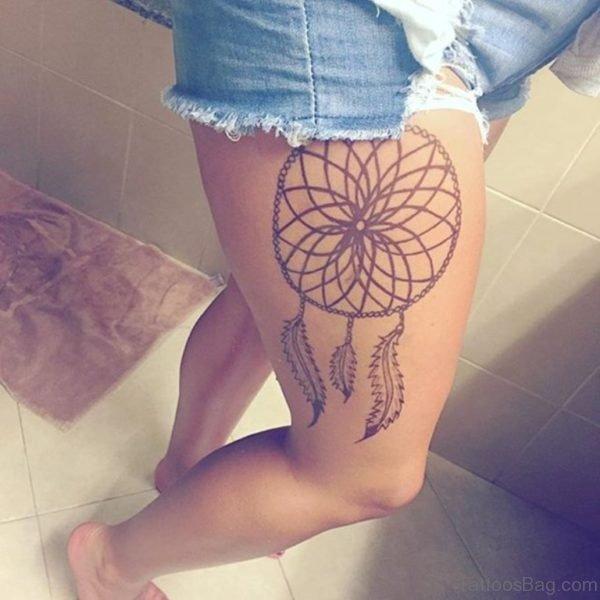 Fantastic Dreamcatcher Tattoo On Thigh