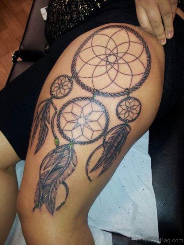 78 Graceful Dreamcatcher Tattoos On Thigh