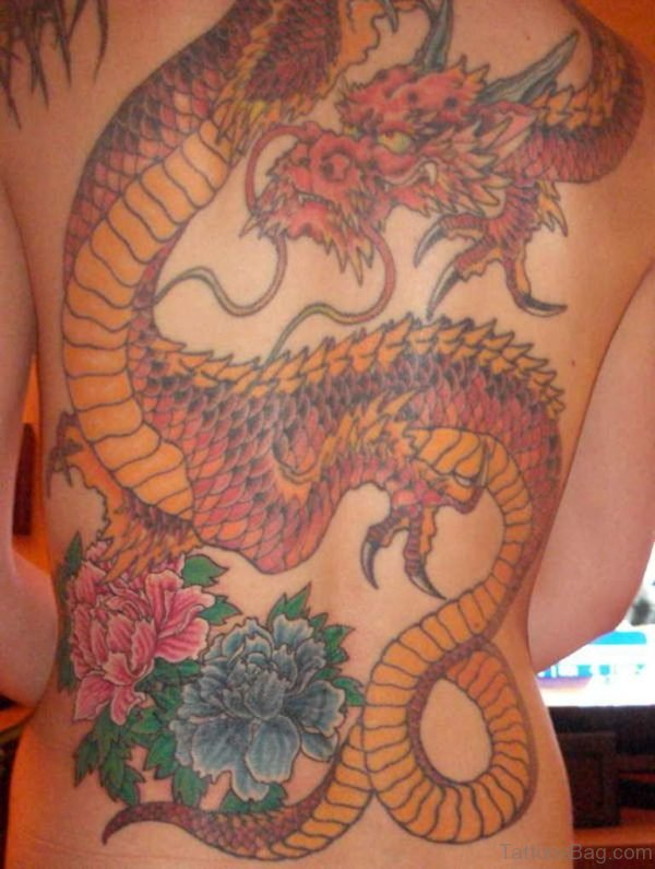 Fantastic Flower And Dragon Tattoo