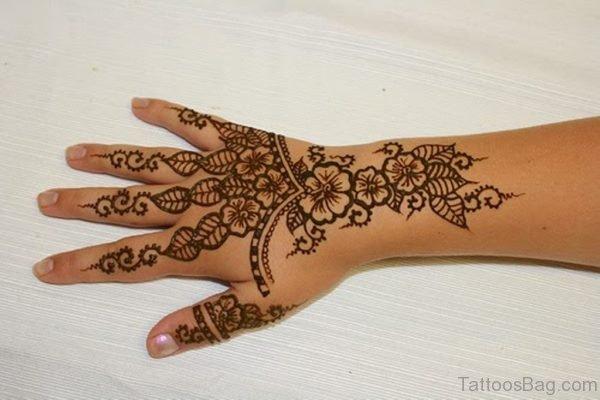 Fantastic Henna Flower Tattoo On Hand
