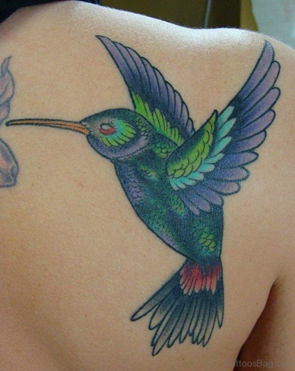 Fantastic Hummingbird Tattoo On Back