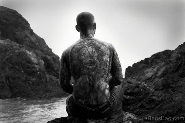 Fantastic Lion Tattoo On Full Back