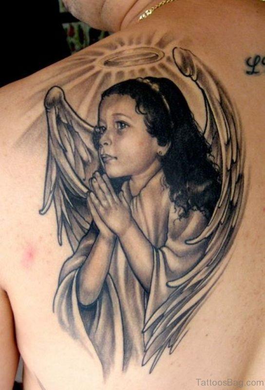 Fantastic Memorial Angel Tattoo Design