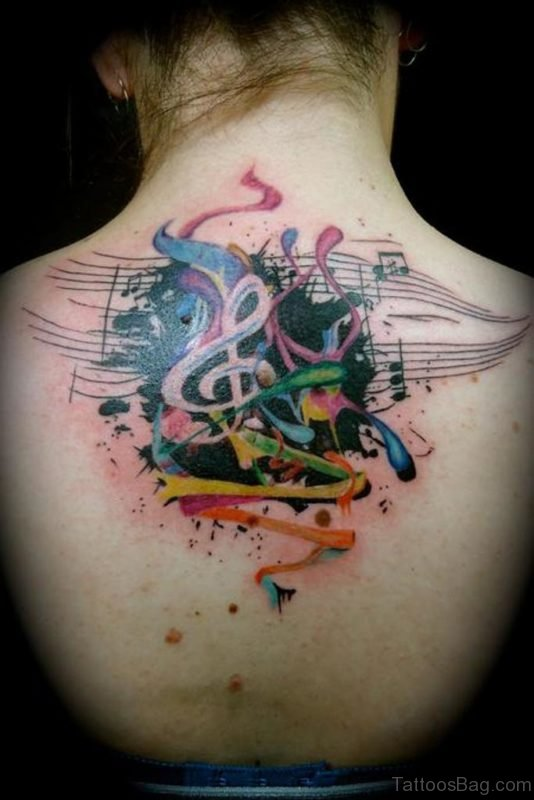 Fantastic Music Notes Tattoo On Back