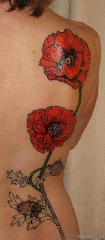 Fantastic Poppy Flower Tattoo On Back
