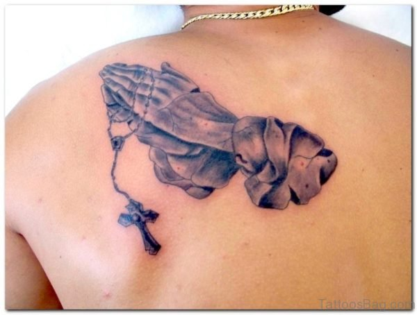 Fantastic Praying Hands Tattoo On Back