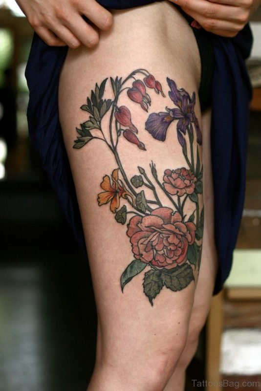 Fantastic Rose Tattoo Design On Thigh