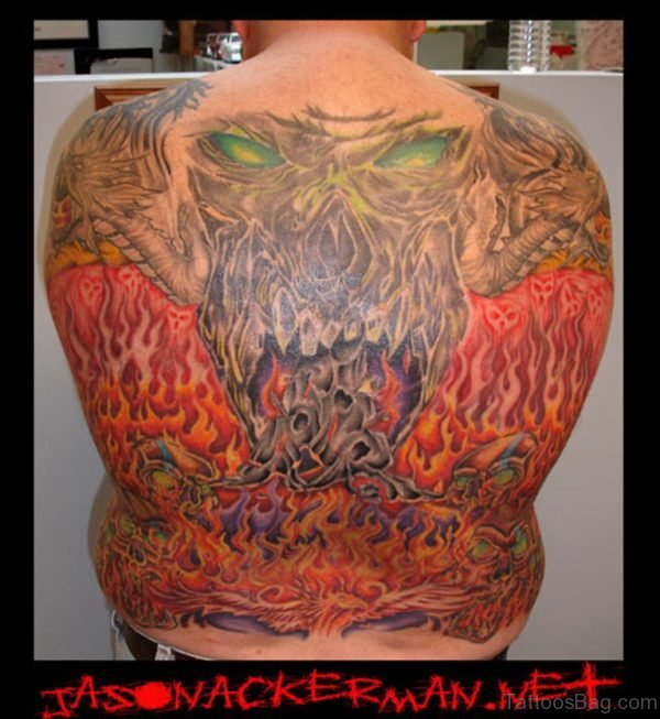 Fantastic Skull Tattoo On Back