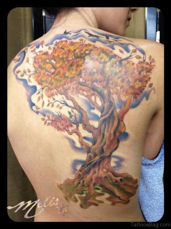 Fantastic Tree Tattoo Design On Back