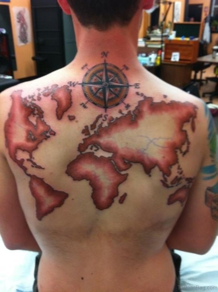 60 outlandish map tattoos for back fantastic world map tattoo design gumiabroncs Choice Image