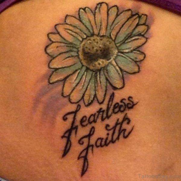 Fearless Faith Daisy Flower Tattoo On Back