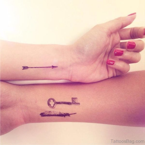 Feather Arrow And Key Tattoo