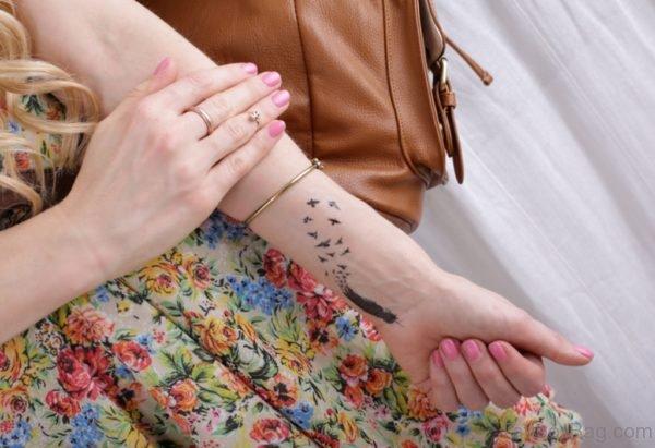 Feather  Birds Tattoo On Wrist
