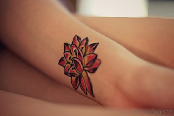 Feminine Flower Tattoo On Wrist