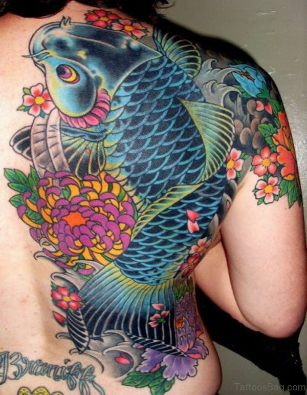 Fish Tattoo On Full Back
