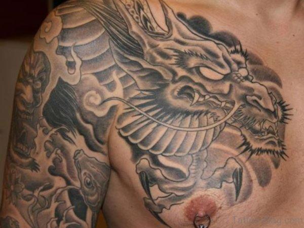 Fine Dragon Tattoo On Chest