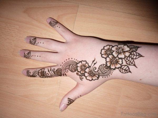 Fine Henna Flower Tattoo