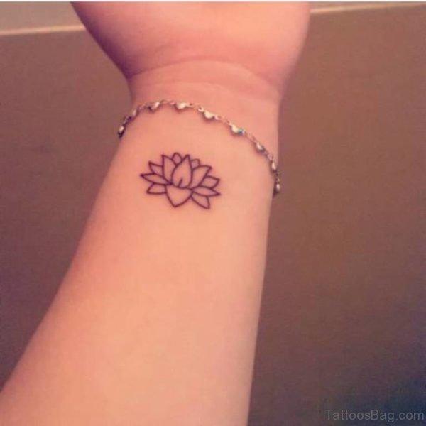 Fine Lotus Tattoo On Wrist