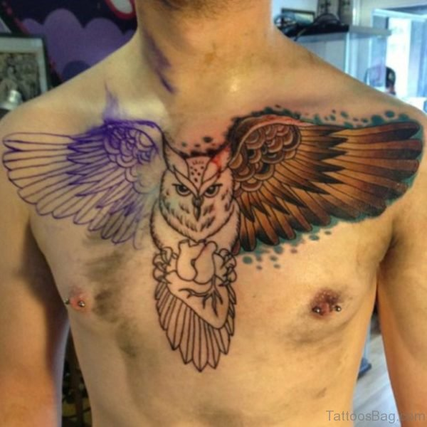 Fine Owl Tattoo On Chest
