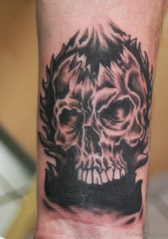 Fired Skull Tattoo