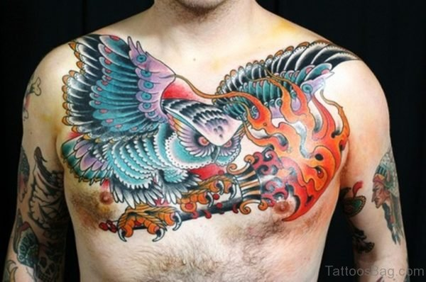 Flames And Owl Tattoo