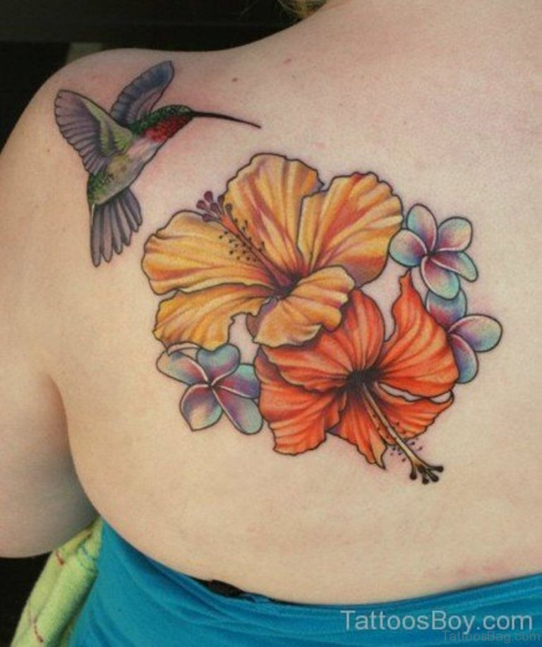 Fantastic Flower And Bird Tattoo On Back