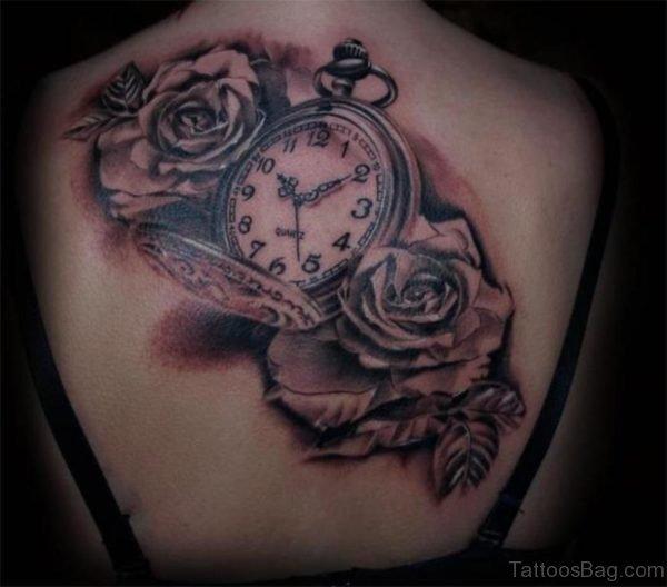 Flower And Clock Tattoo Design