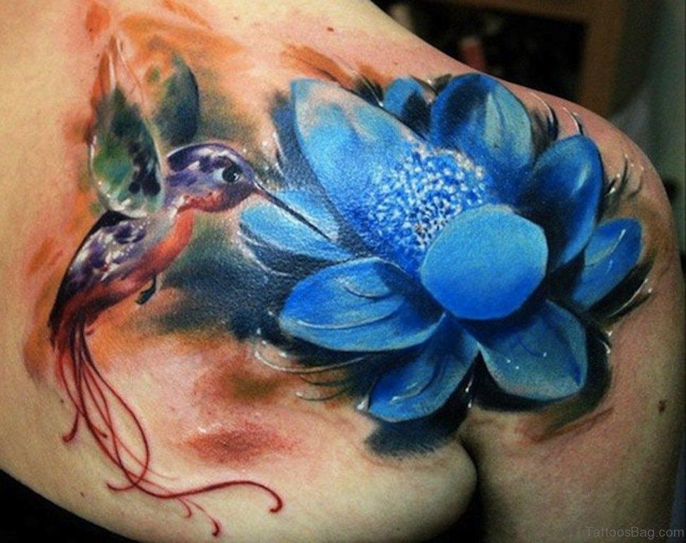 Hummingbird Flower Tattoos: 50 Exquisite Lotus Tattoos On Shoulder