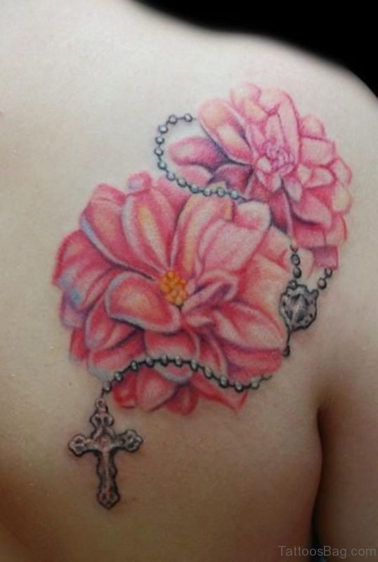Flower And Rosary Chain Tattoo