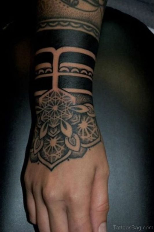 Flower And Tribal Tattoo