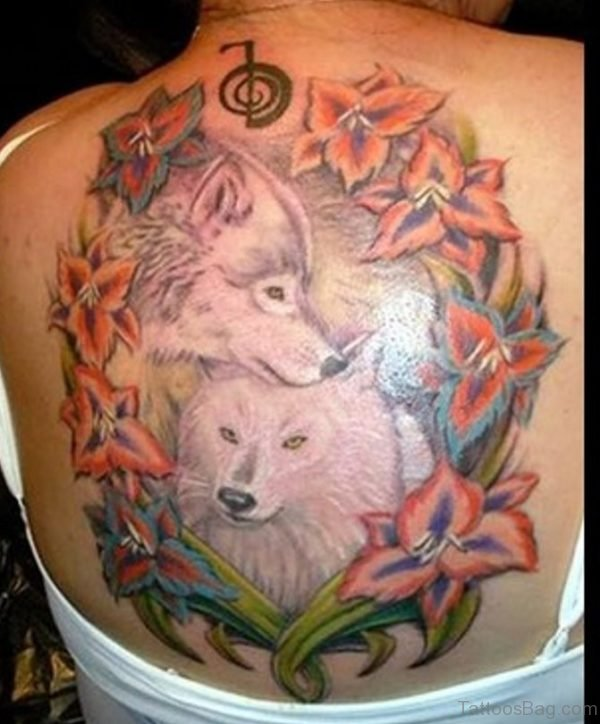 Flower And Wolf Tattoo On Back