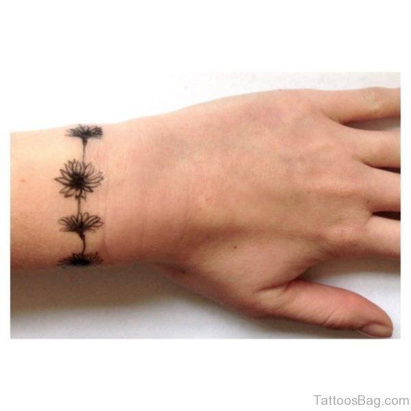 Flower Band Wrist Tattoo