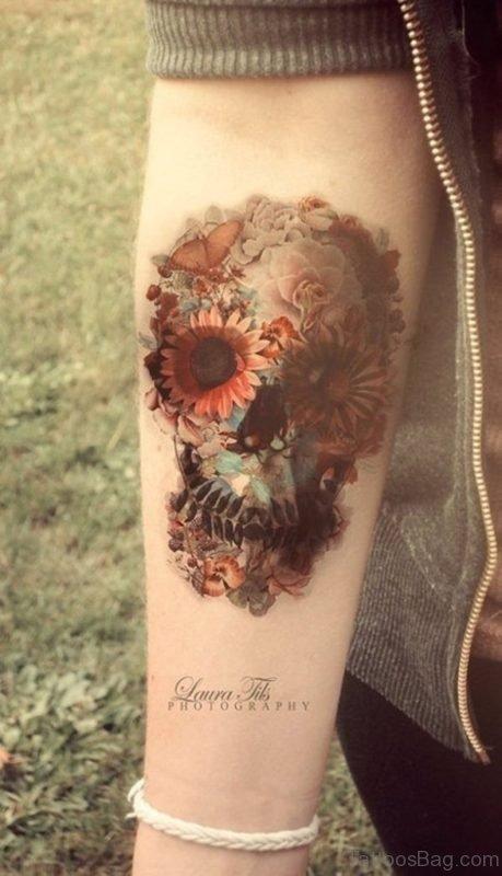 Flower Skull Wrist Tattoo