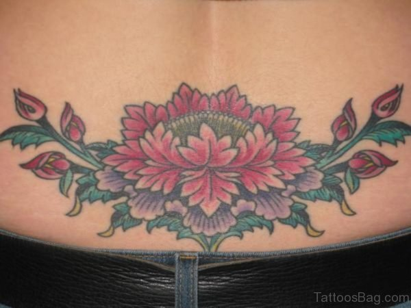 Flower Tattoo On Lower Back