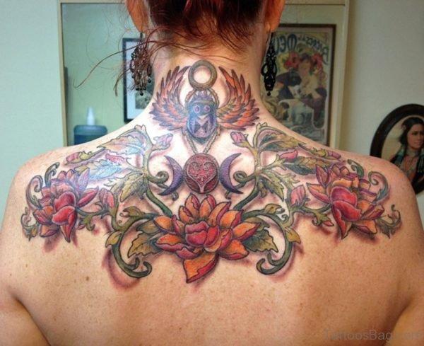 Wonderful Flower Tattoo On Back