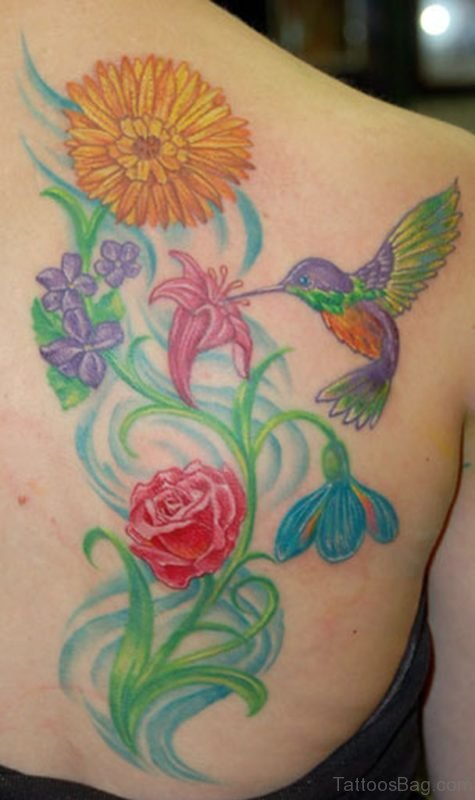 Flower With Hummingbird Tattoo
